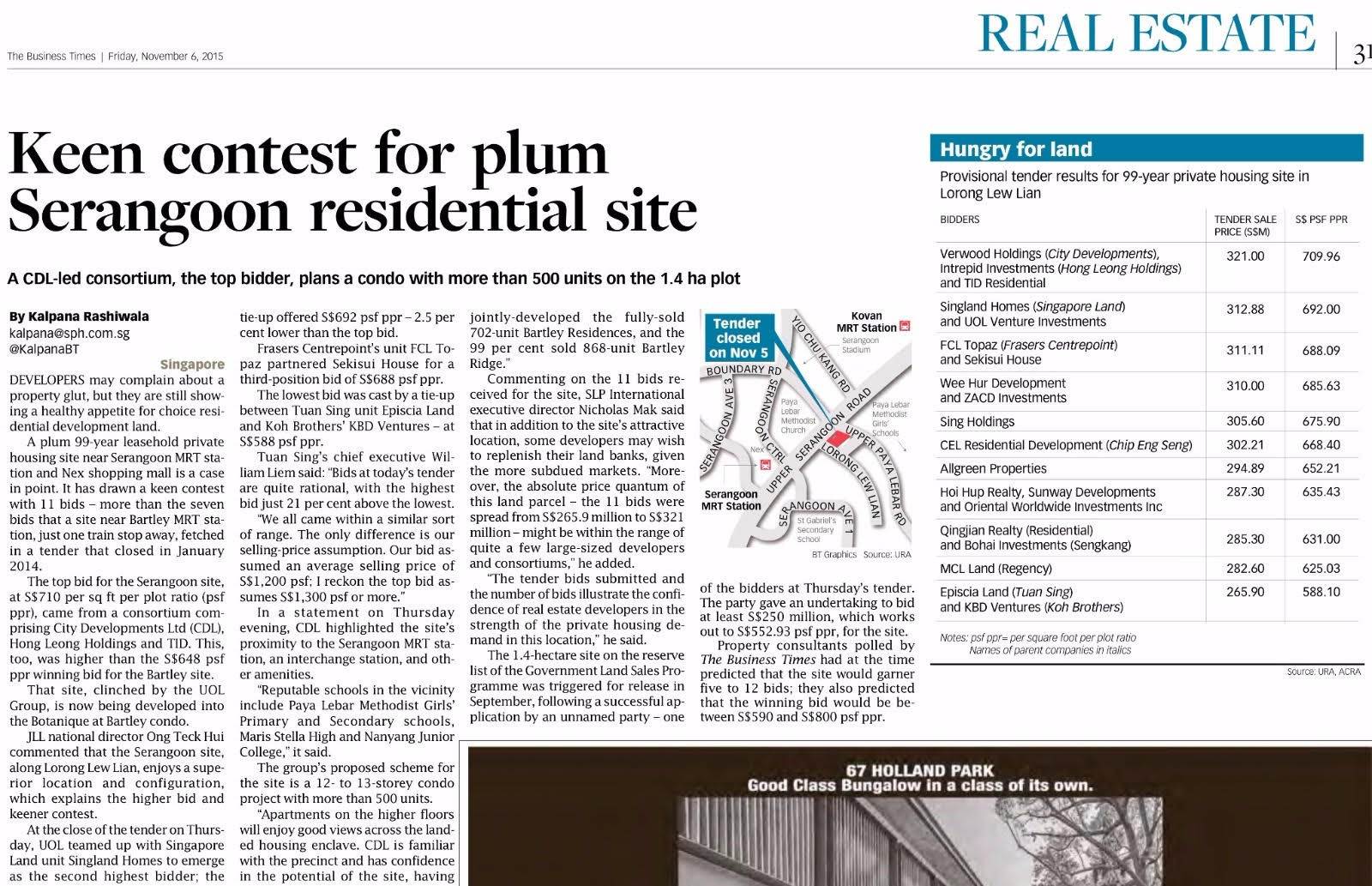 Lorong Liew Lian bidded site